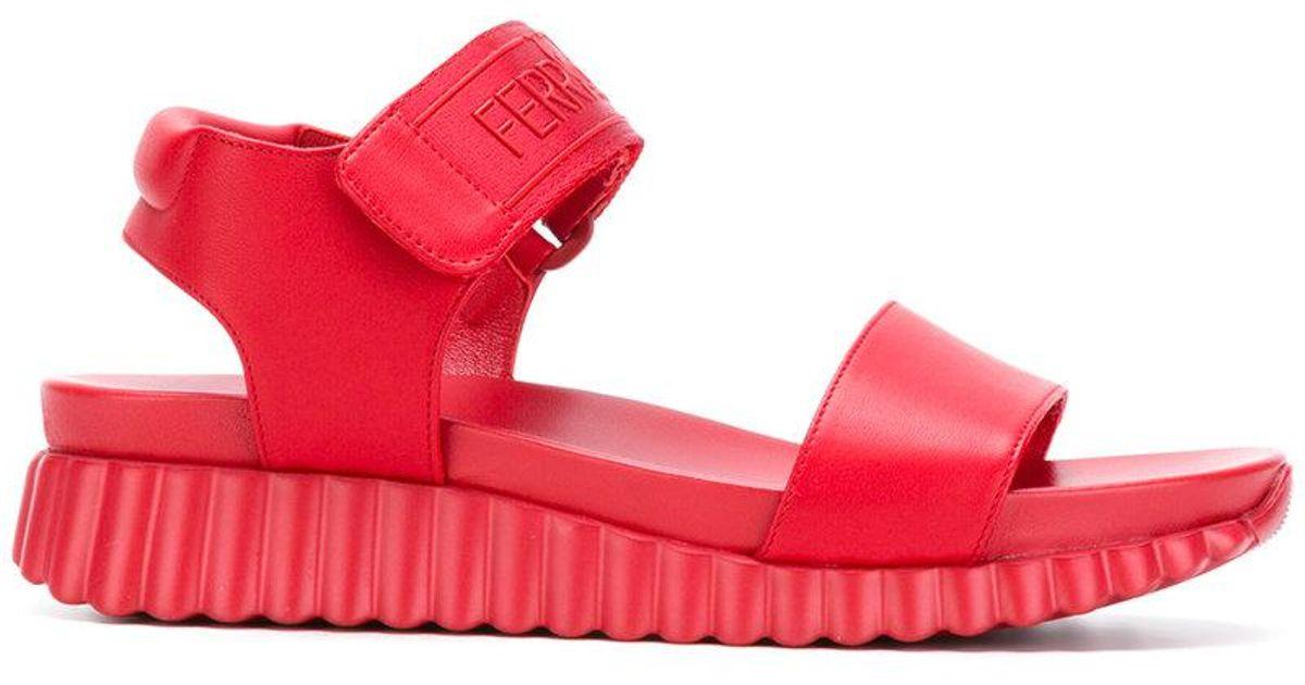 Ferragamo Leather Velcro Sandals in Red