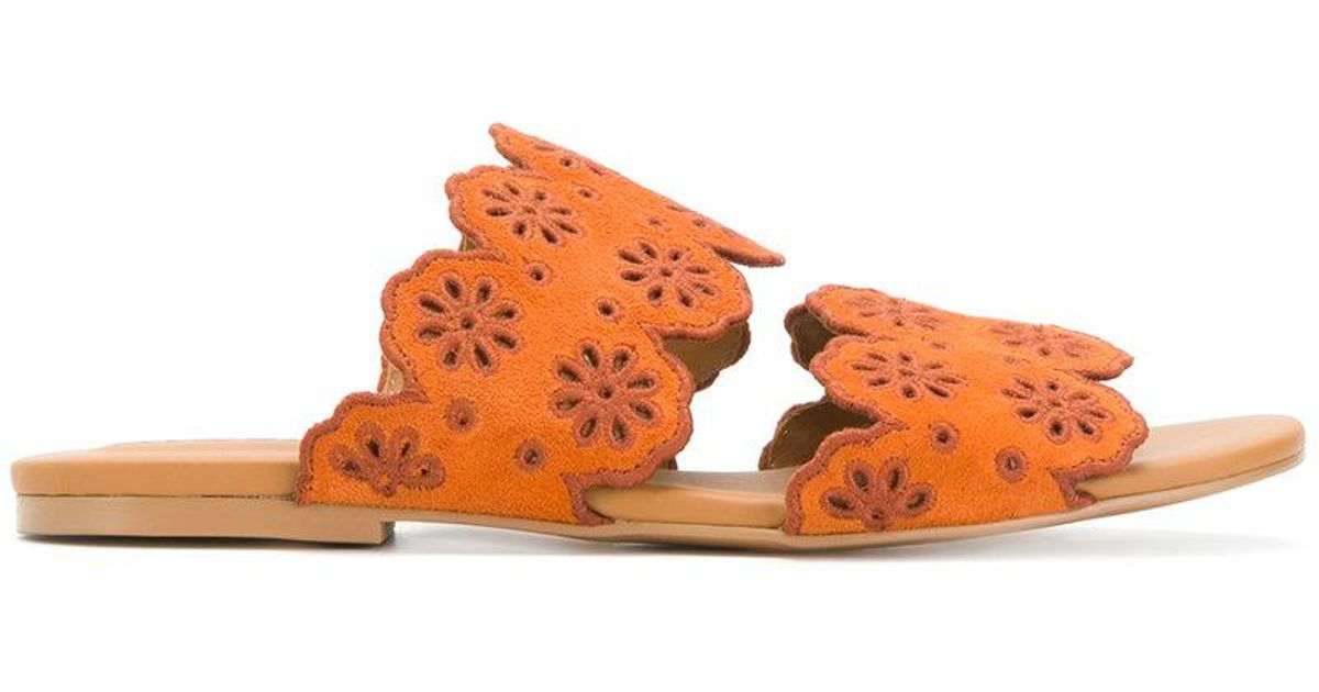 scalloped flat sandals - Yellow & Orange See By Chlo zXZ6dUaUr