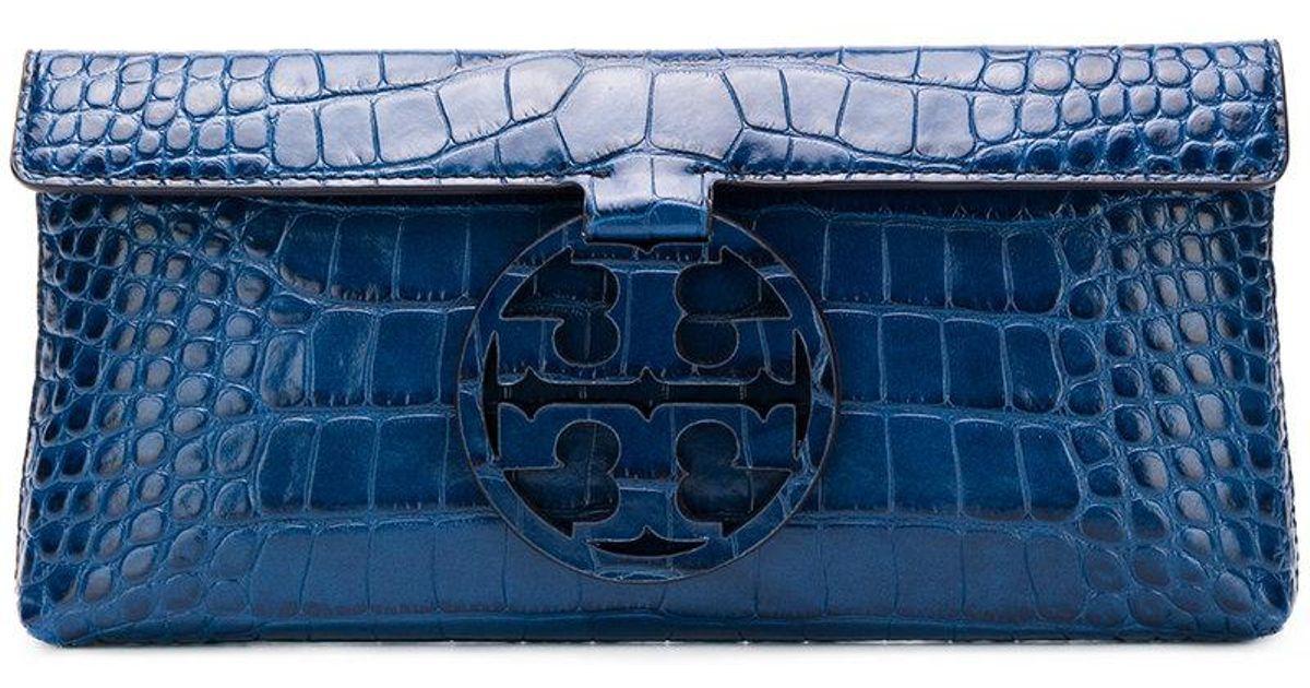 bcaa30774f4 Lyst - Tory Burch Miller Embossed Clutch in Blue