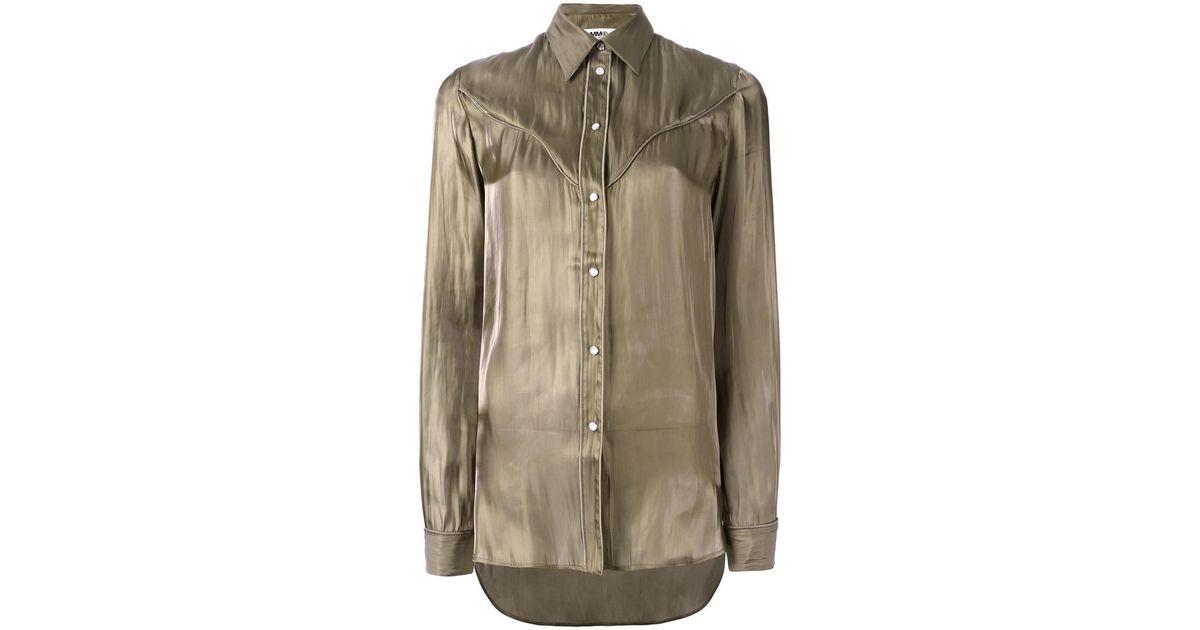 cutaway collar shirt - Green Maison Martin Margiela Cheap Sale New Discount Aaa Online Shop Free Shipping In China Buy Cheap Inexpensive QnigPUKbTf