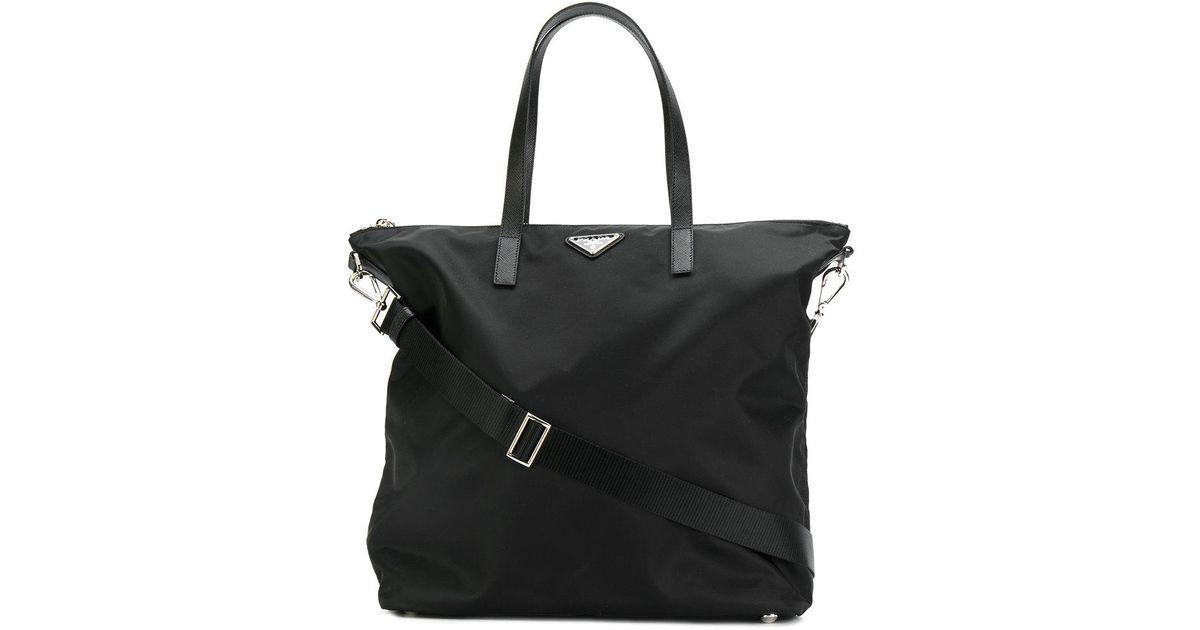 2c87b482b447 Lyst - Prada Nylon Shopper Tote in Black