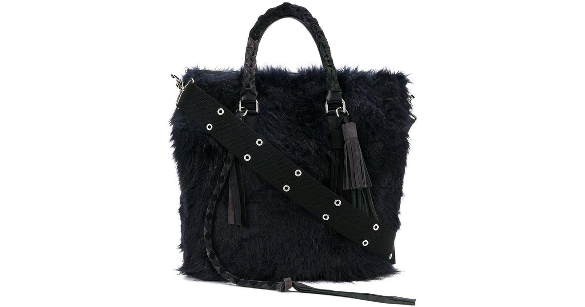 c6d5684708 Lyst - Sacai Furry Tote Bag in Blue