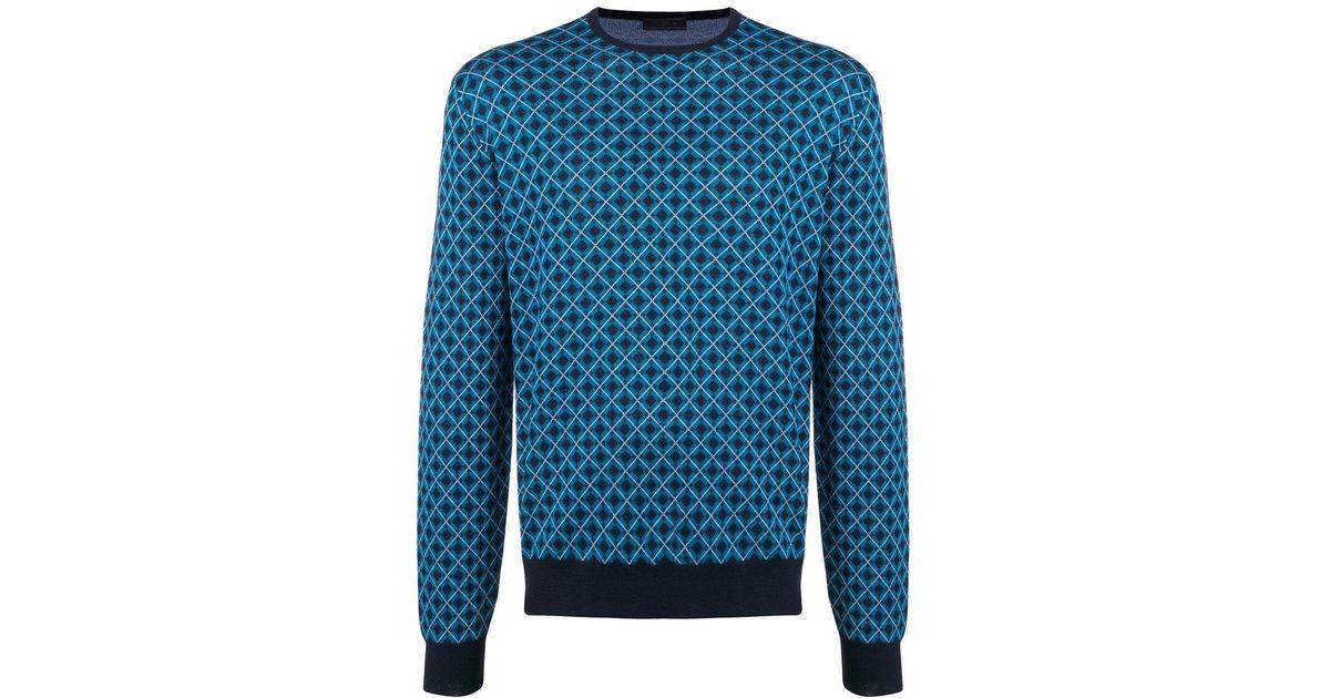 f993cb04b58e Lyst - Pull à motif géométrique Prada pour homme en coloris Bleu