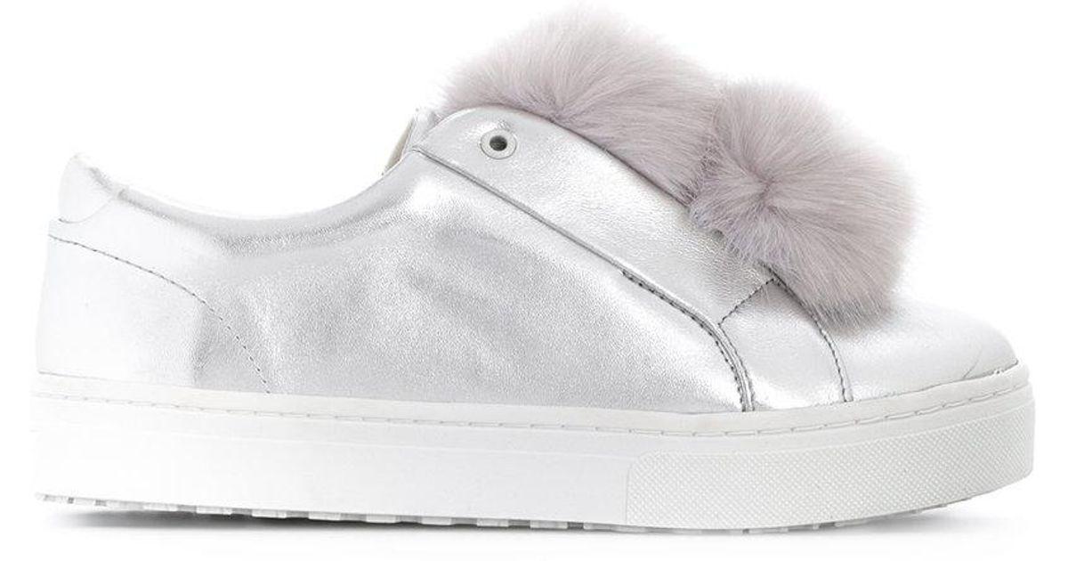 ff368ff6e840 Sam Edelman Leya Pom Pom Sneakers in Metallic - Lyst