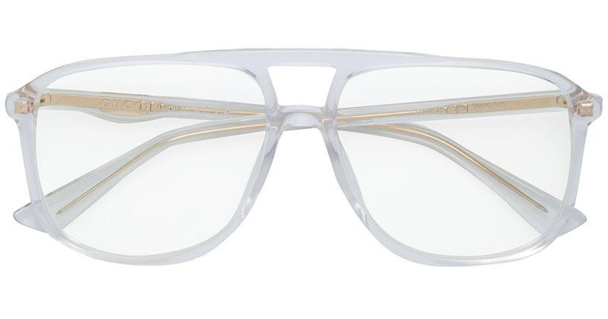 Gucci Clear Oversized Glasses in White for Men - Lyst