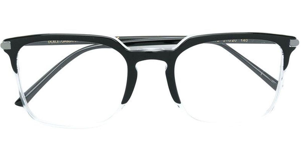19961e7ac44 Lyst - Dolce   Gabbana Rectangular Glasses in Black