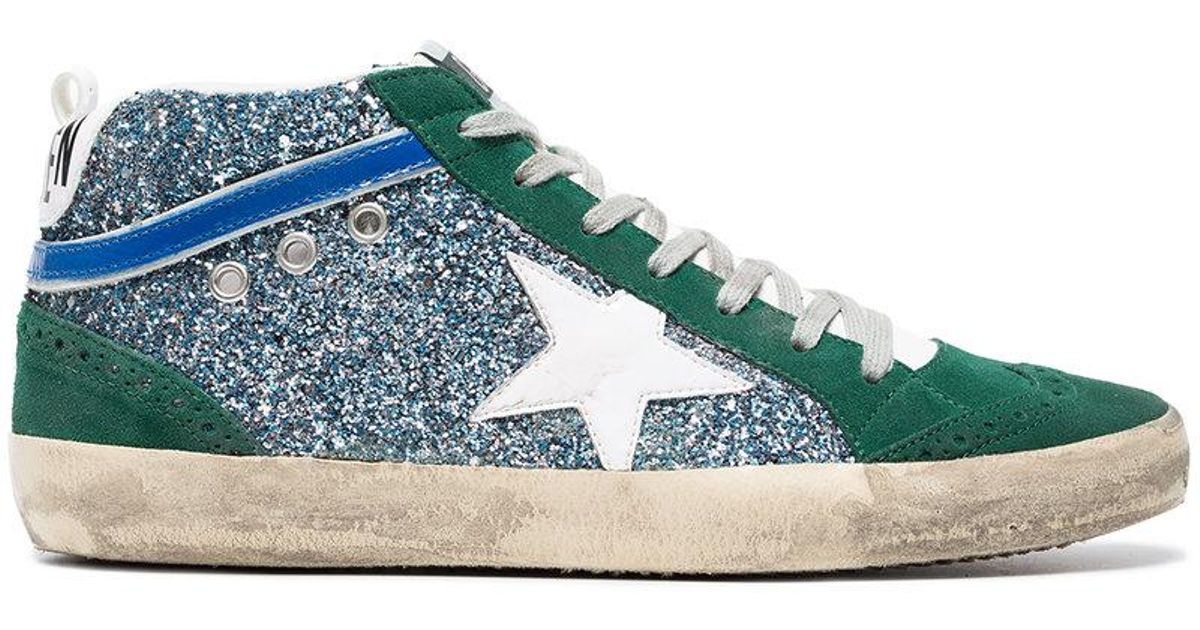 856995430 Golden Goose Deluxe Brand Green Mid Star Glitter Suede And Leather Sneakers  in Green - Lyst