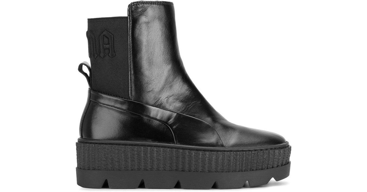 PUMA Leather Flatform Boots in Black - Lyst