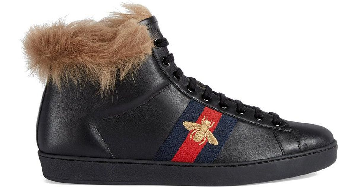 Gucci Ace High Top Sneaker With Fur In Black For Men Lyst