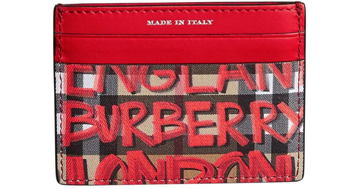 Graffiti Print Vintage Check Leather Card Case - Red Burberry 23MWNH9gt3