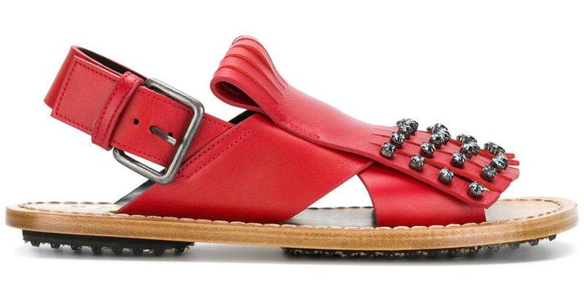 Sandales Embelli De Cristal - Marni Rouge RmCCBw