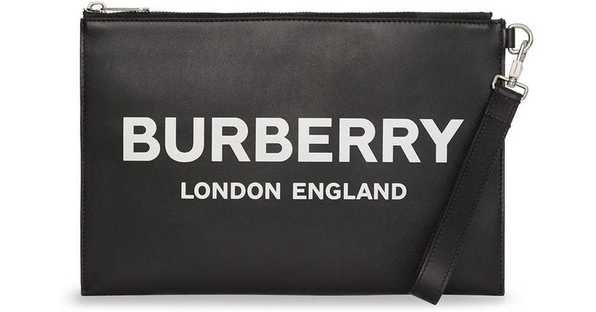 ea55dd3d3ba7 Burberry Logo Print Zip Pouch in Black for Men - Lyst