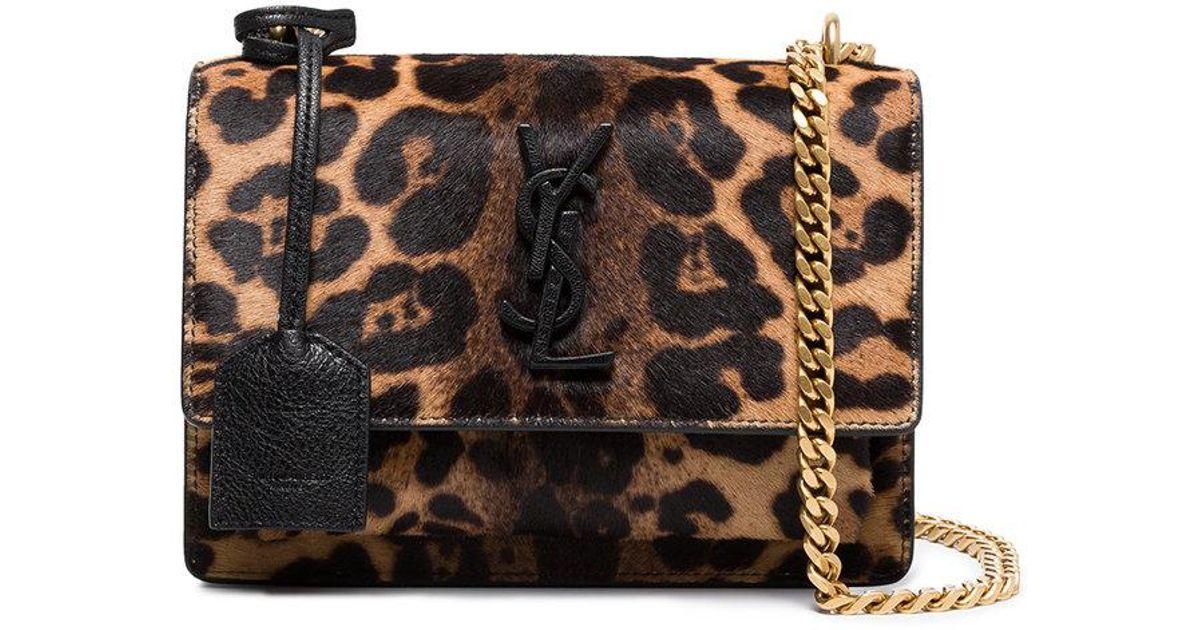 e7736290b2 Saint Laurent Brown Sunset Monogram Ponyskin Leopard Print Bag
