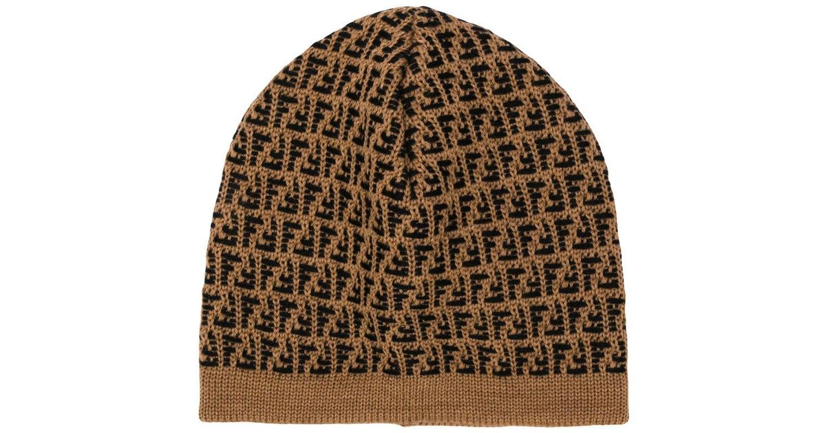 9234f096a Fendi Brown Logo Intarsia Beanie for men