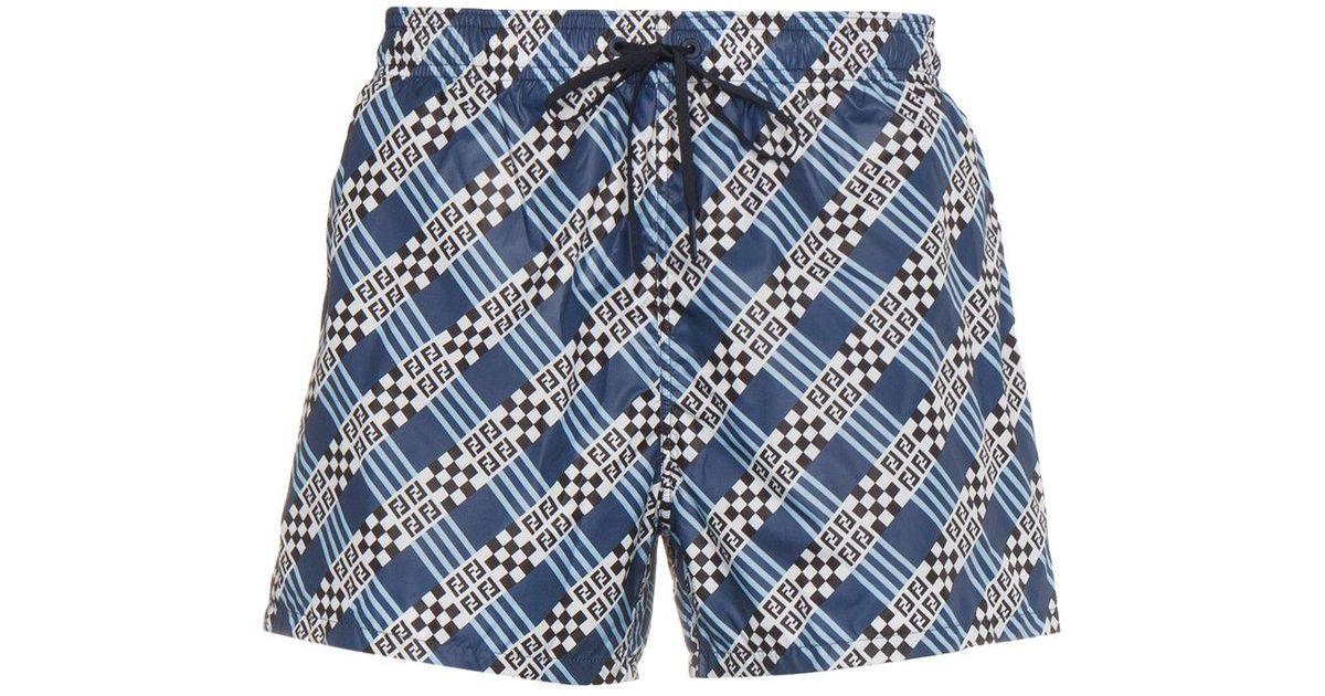 design de qualité 2e4f0 dc2eb Fendi - Blue Short de bain à motif monogrammé for Men - Lyst