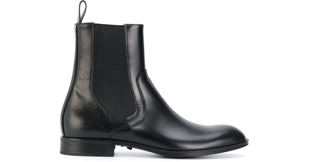 Versace Leather Chelsea Boots in Black