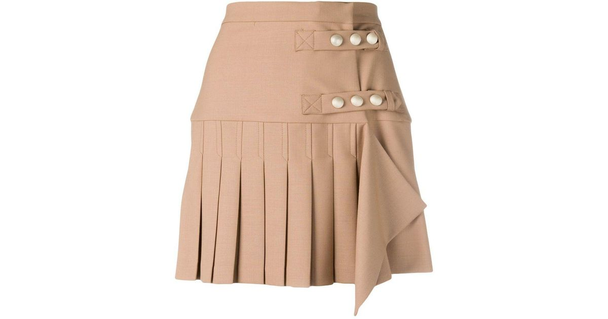 a7f9cecf8d Pinko Pleated Fitted Mini Skirt in Natural - Lyst