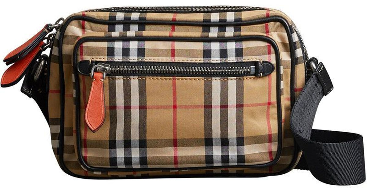 362b42ef729a Lyst - Burberry Vintage Check And Leather Crossbody Bag for Men
