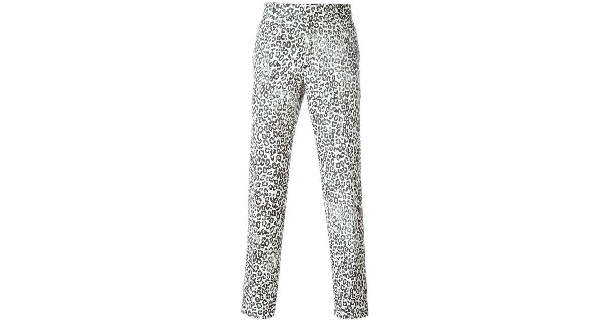 98894e998daa Alexander McQueen Leopard Print Trousers in White for Men - Lyst