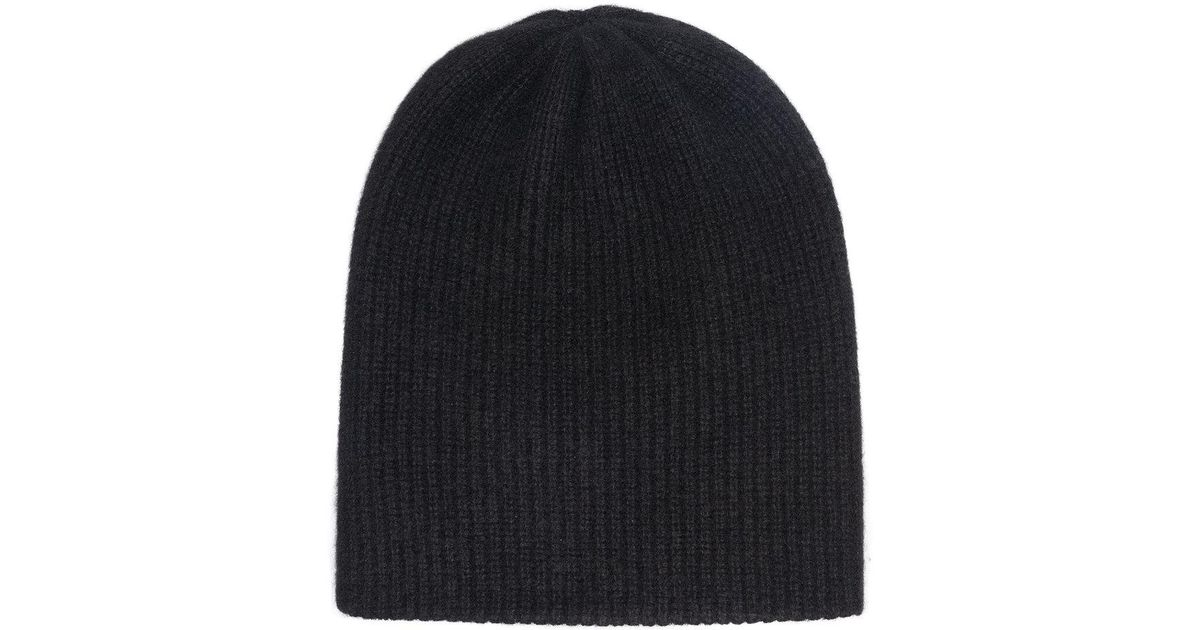black heavy ribbed cashmere beanie The Elder Statesman