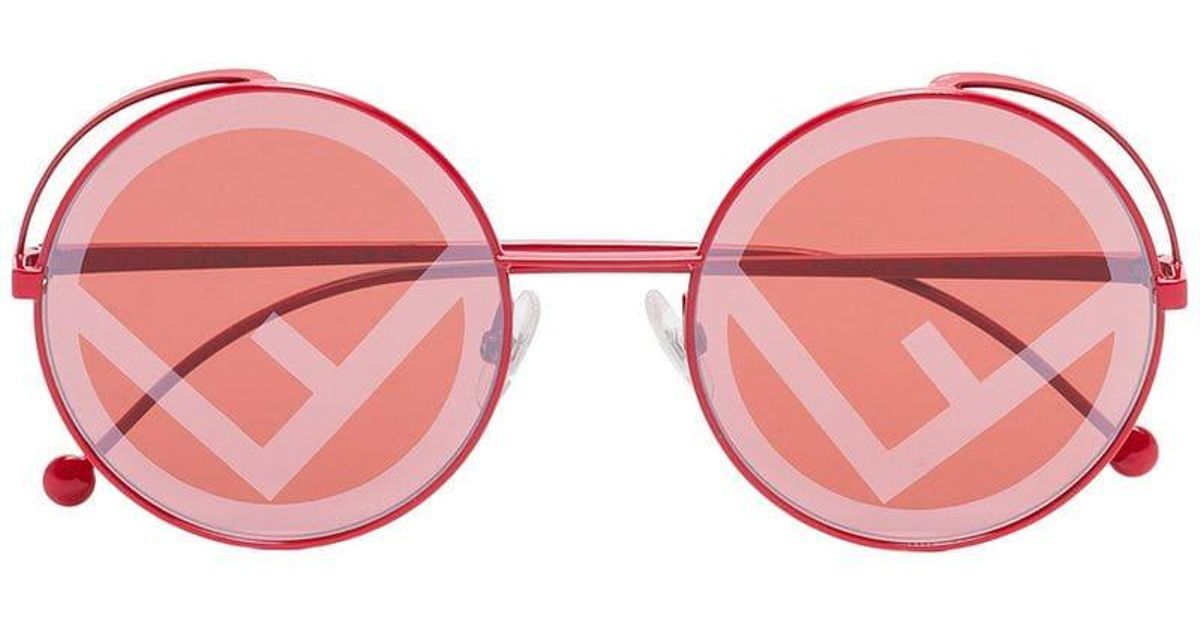 a0ccd5b6bfb71 Lyst - Fendi Red Logo Lens Round Sunglasses in Red - Save 4%