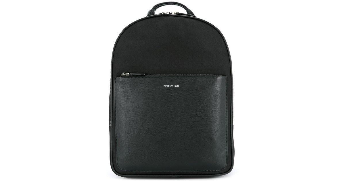 b750741a18a Cerruti 1881 Front Pocket Backpack in Black for Men - Lyst