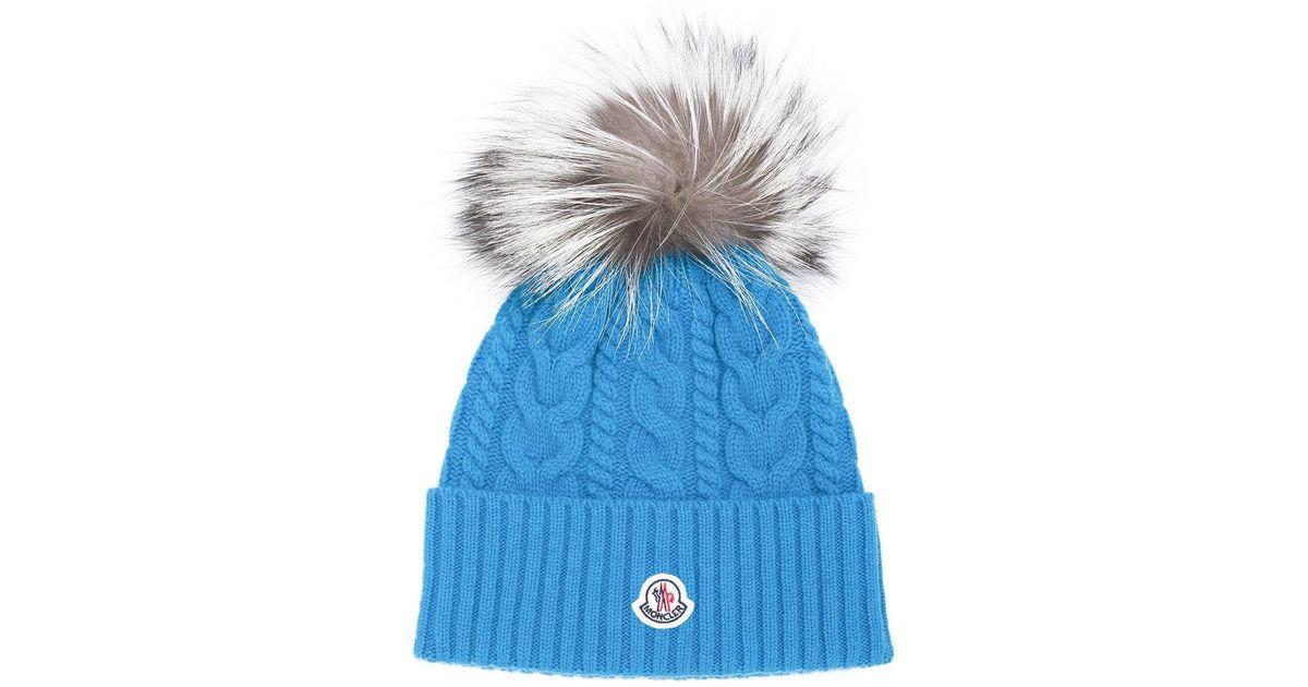 796a222a560 Moncler Pom Pom Beanie in Blue - Save 1.7241379310344769% - Lyst
