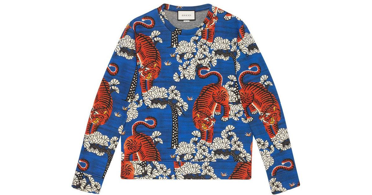 24b508a17 Gucci Bengal Print Sweatshirt in Blue for Men - Lyst
