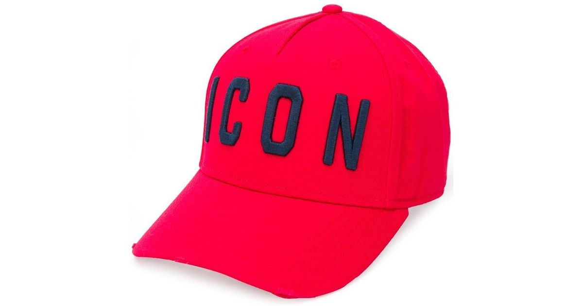330239b8151cd8 DSquared² Logo Embroidered Cap in Red for Men - Lyst