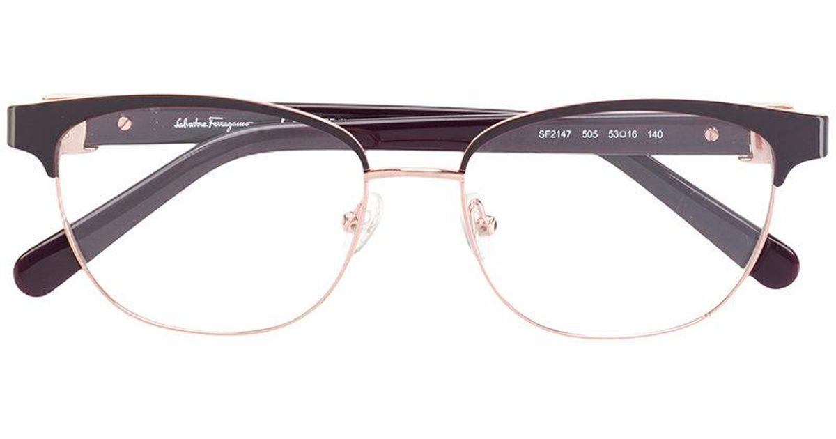03f6fab0f69b Lyst ferragamo half rimmed glasses in red jpg 1200x630 Red rimmed glasses