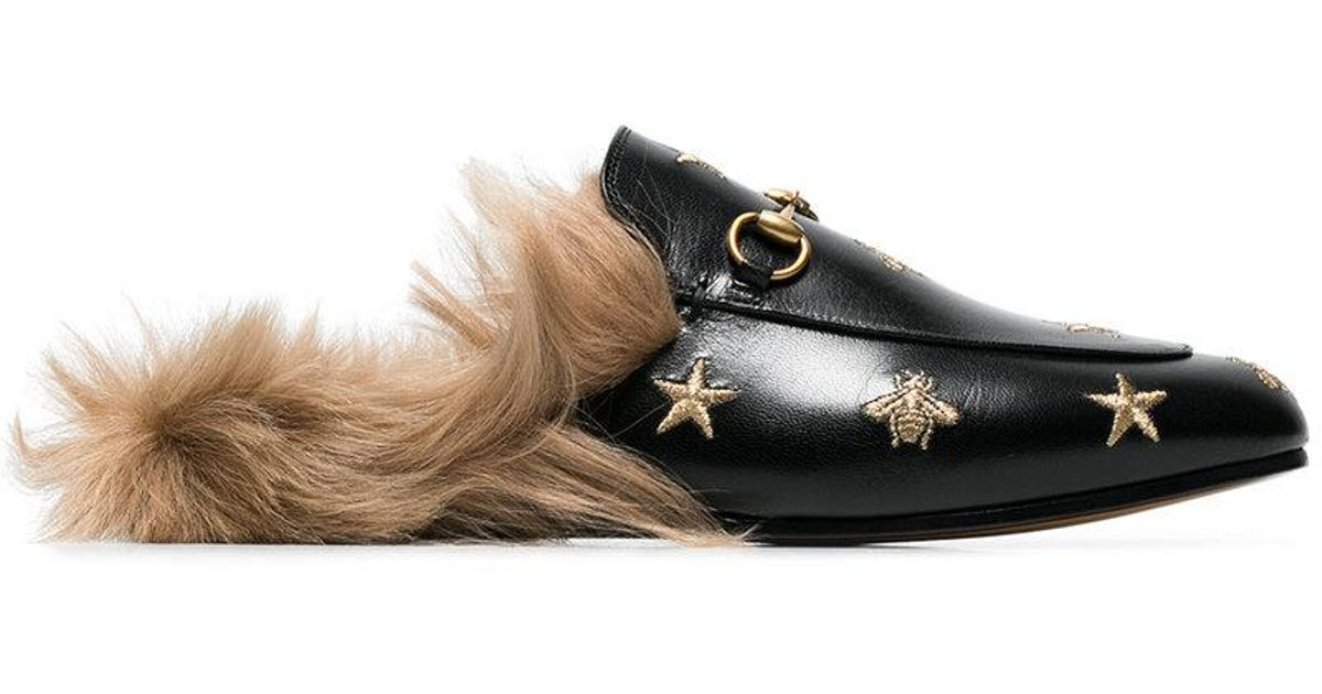93b365b1dbc Lyst - Gucci Princetown Bee And Star Embroidered Fur Lined Loafers
