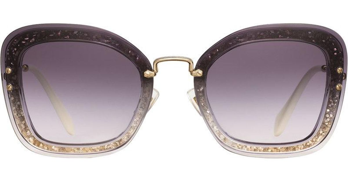 b24177746be Miu Miu Reveal Glitter Sunglasses - Lyst