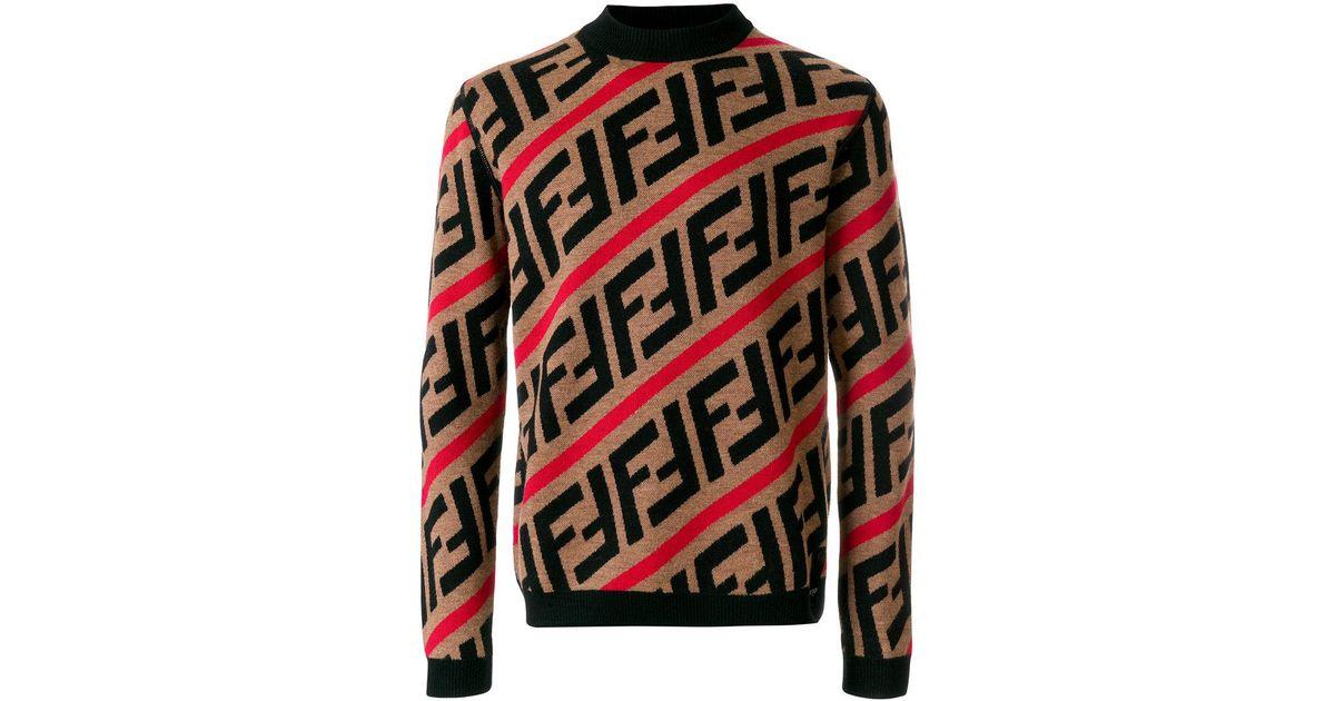 2e8cadb0 Fendi Red Ff Logo Diagonal-stripe Sweater for men