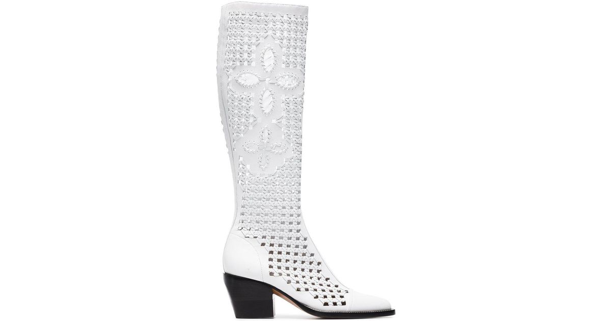 White Reilly 70 Cut Out Leather Boots Chlo Classic Online kqe1kJ