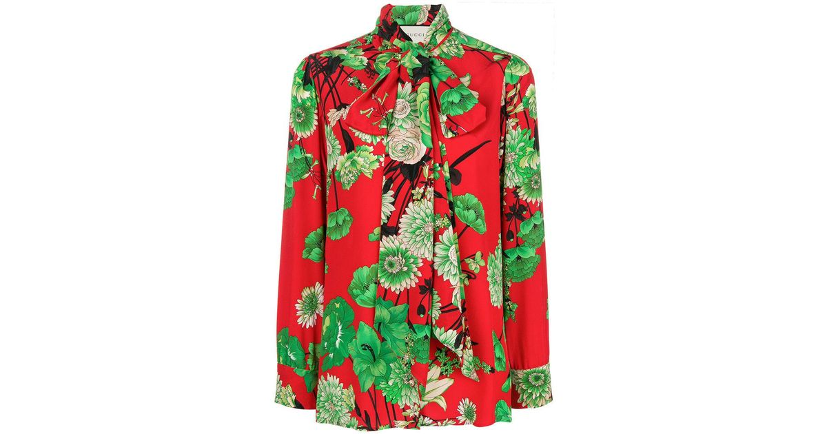 9724d98323e4 Gucci Floral-print Crepe De Chine Shirt in Red - Lyst