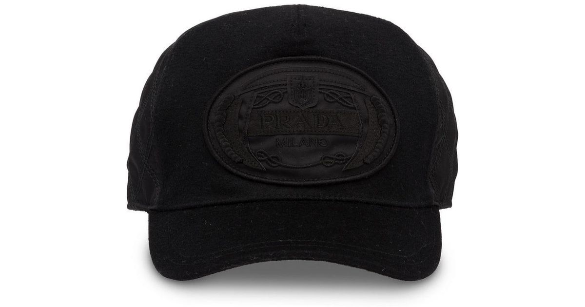 8c6f12ce517 Lyst - Prada Cloth Baseball Cap in Black for Men