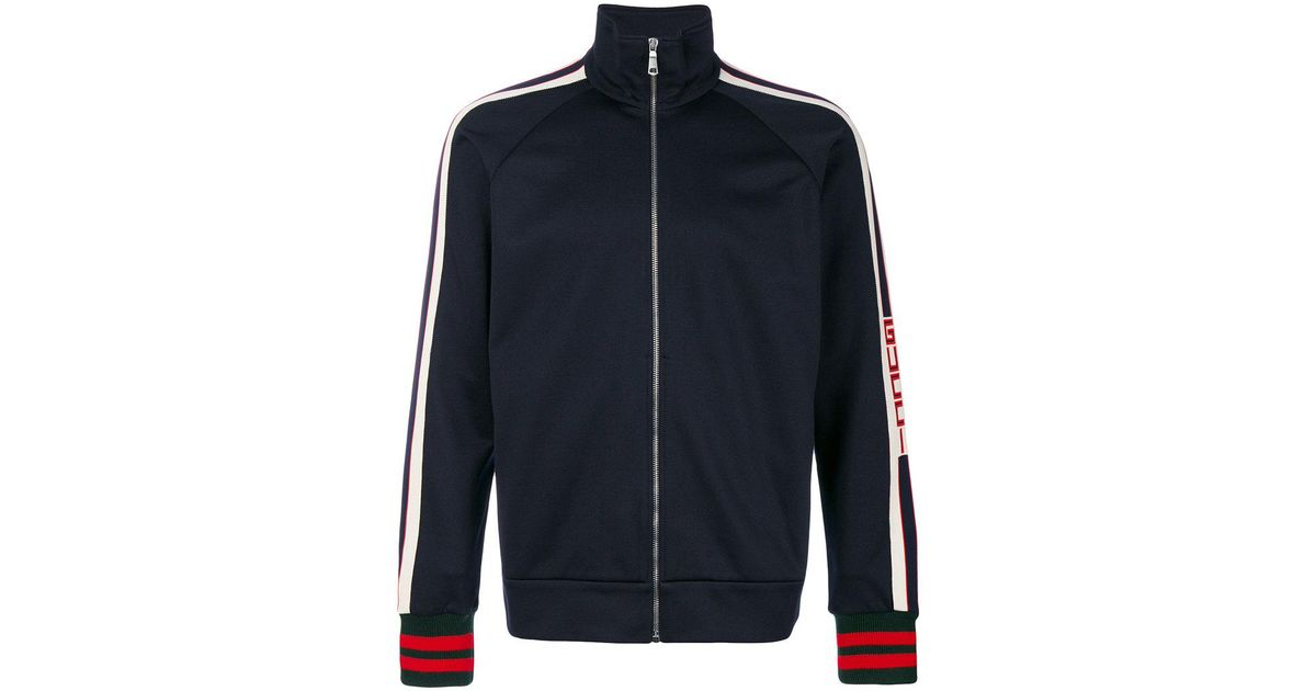 Lyst Gucci Gg Web Technical Jersey Jacket In Blue For Men