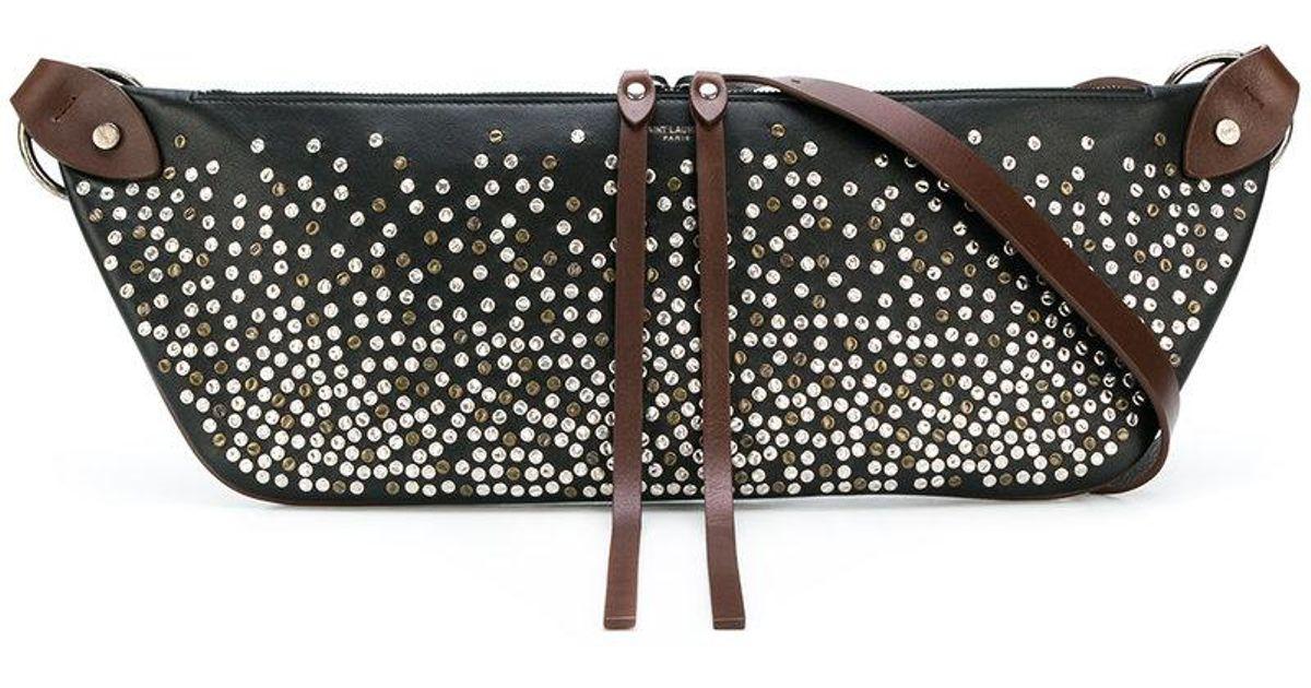 Saint Lau Black Elongated Studded Waist Bag
