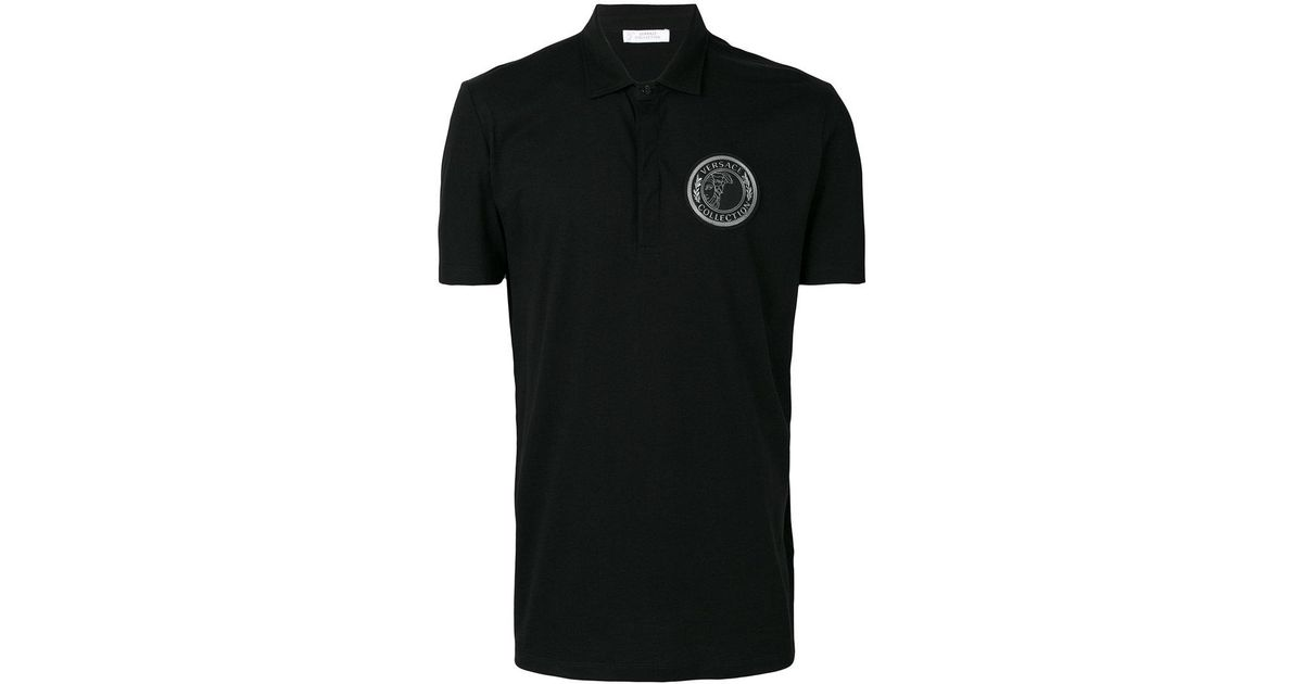 c358a58a9 Lyst - Versace Medusa Patch Polo Shirt in Black for Men