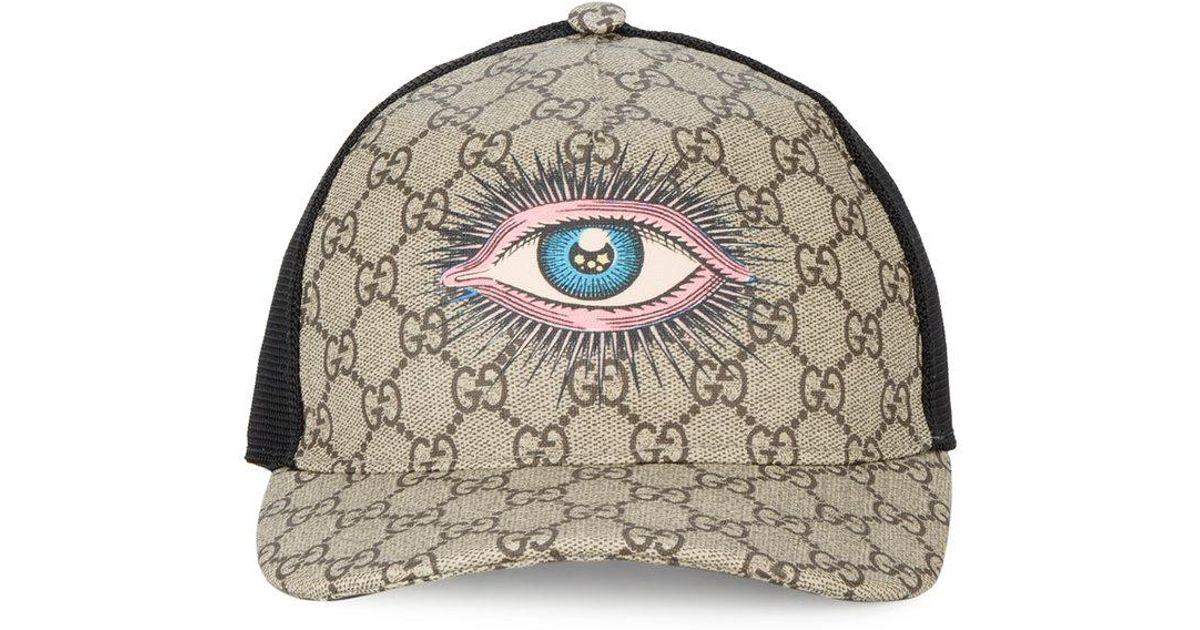 Lyst - Gucci Eye Gg Supreme Baseball Cap in Brown for Men 8dafd58f663