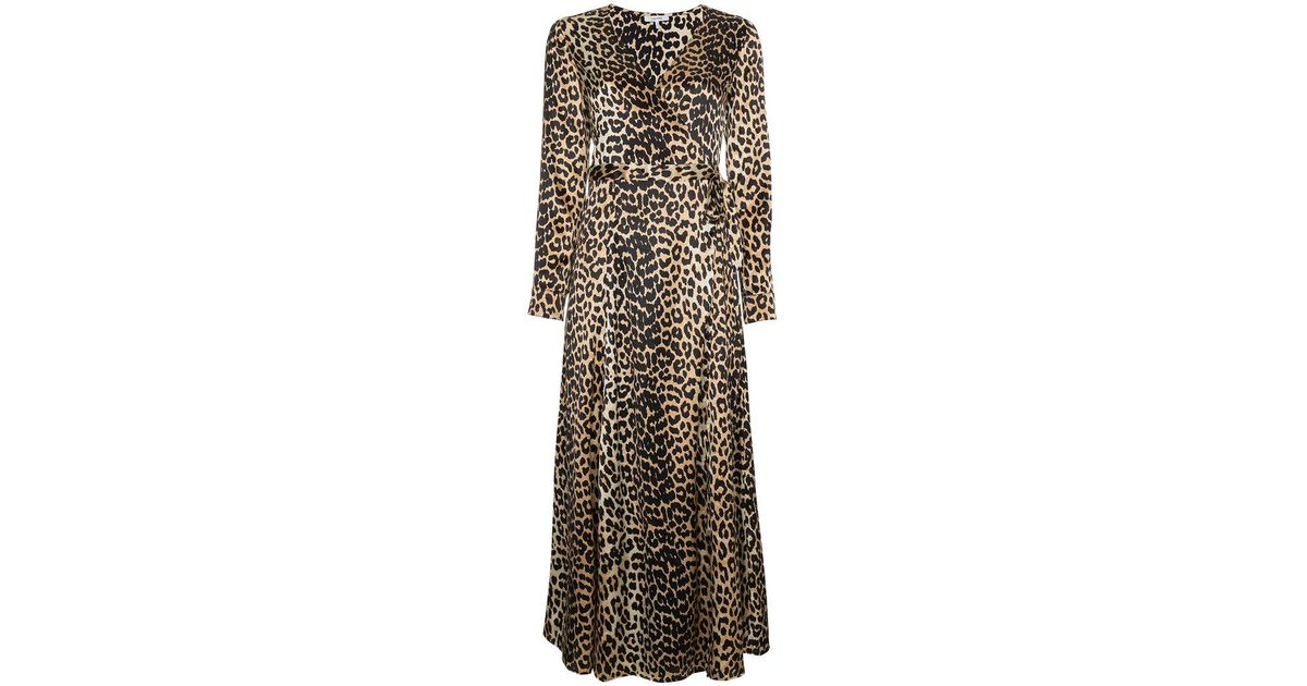 b2bbe4a4 Ganni Dufort Leopard Print Wrap Dress in Brown - Lyst