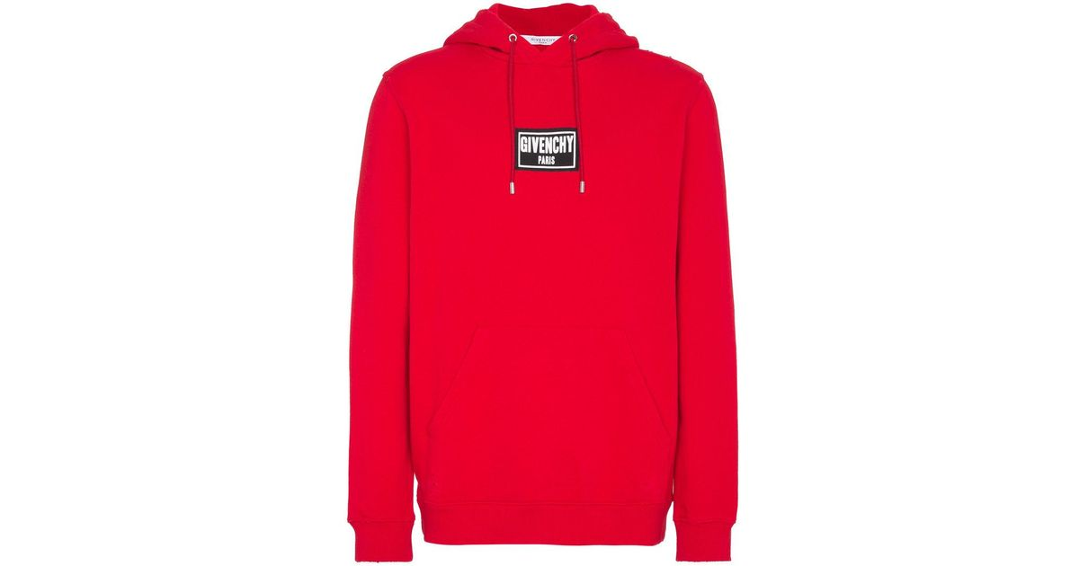 3bb8241896c104 Givenchy Paris Patch Destroyed Hoodie in Red for Men - Lyst