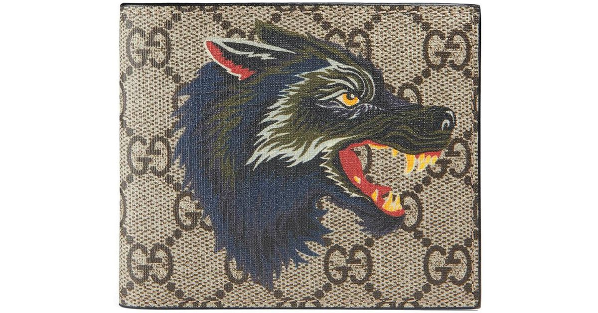 0a7e483643f4 Gucci Wolf Print Gg Supreme Wallet for Men - Lyst