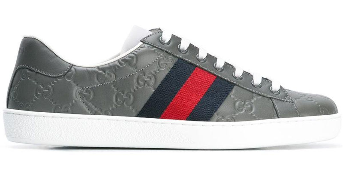 0454a981b2b Gucci Ace Signature Low-top Sneakers in Gray for Men - Lyst