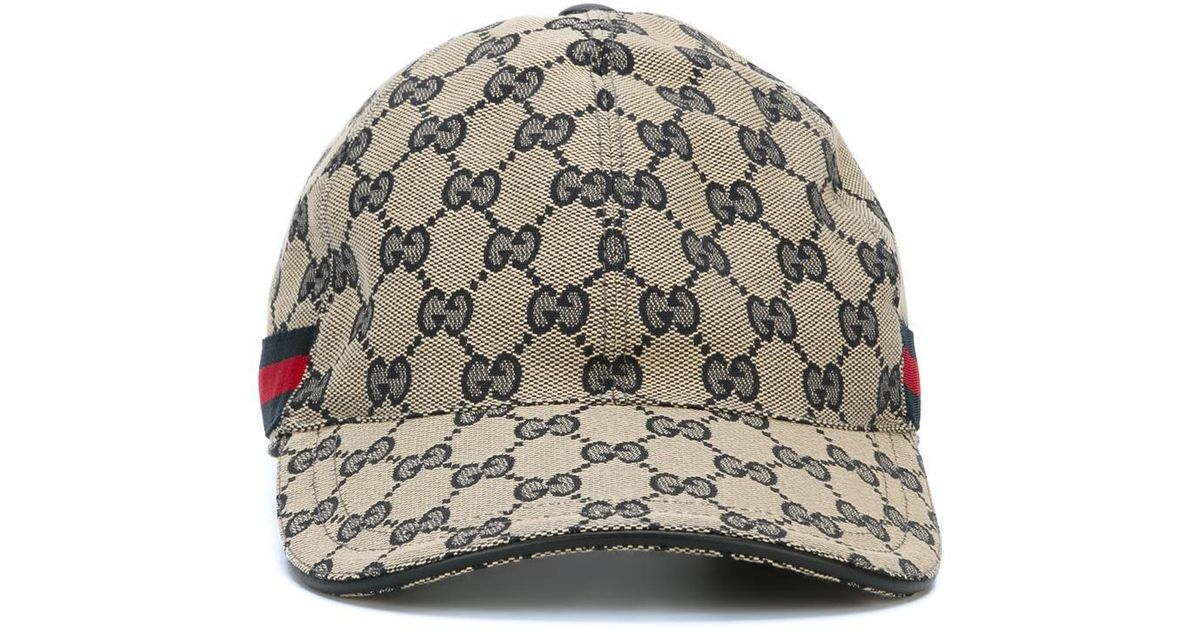 8d36a904 Gucci 'original Gg' Baseball Cap With Web in Gray for Men - Lyst