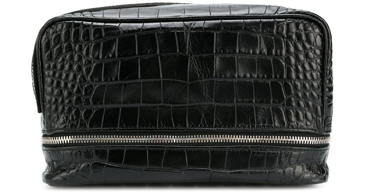 84e5fb3168 Lyst - Neil Barrett Crocodile Embossed Wash Bag in Black for Men