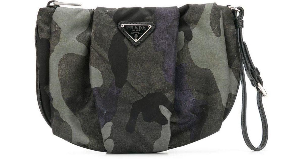 4b4625f68038 Prada Nylon Camo Make-up Bag in Black - Lyst