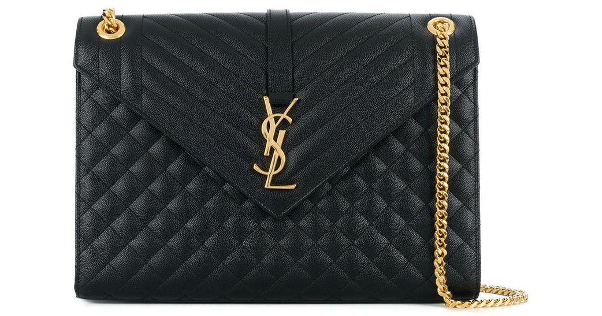 a9feae33e7373 Saint Laurent Large Monogram Envelope Bag in Black - Lyst