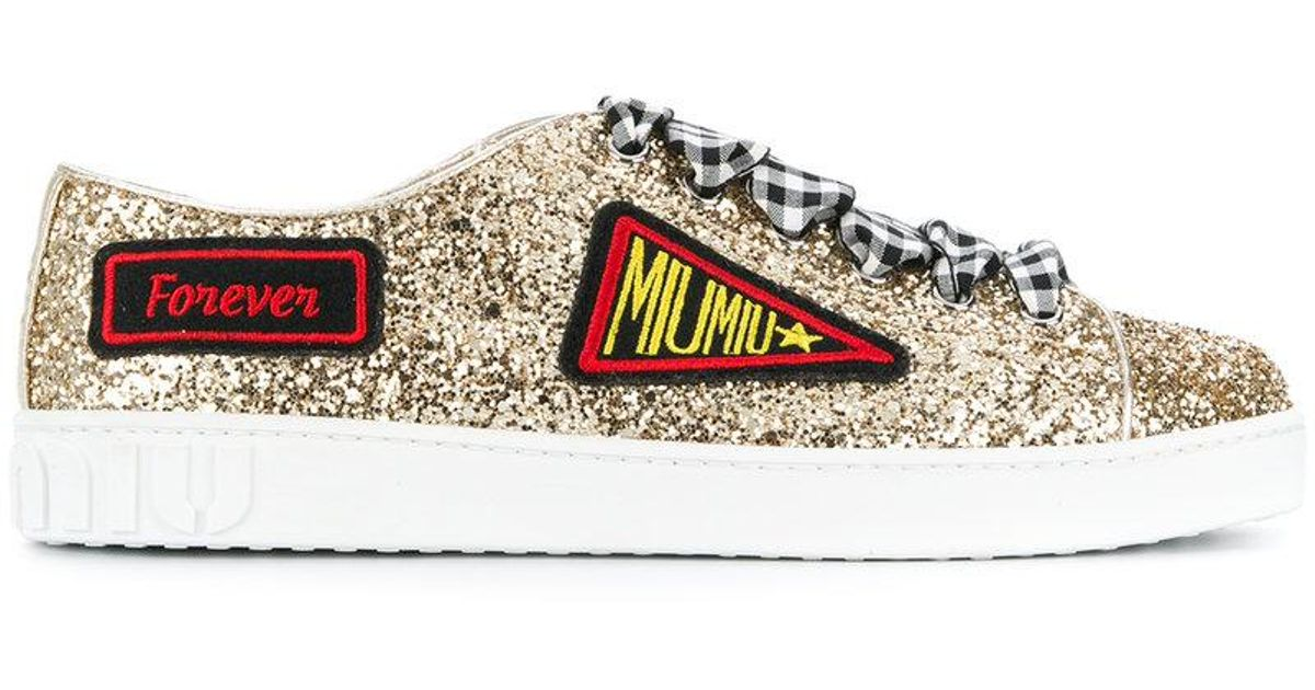 patch embroidered glittered sneakers - Metallic Miu Miu WQyjwzO5