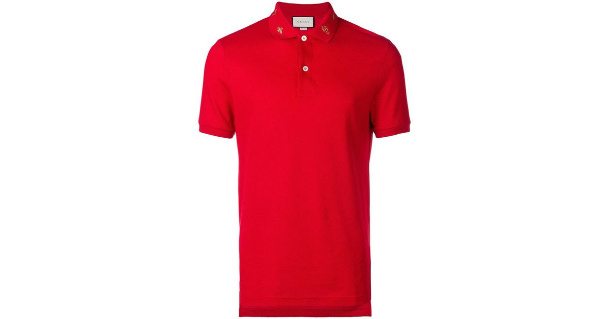 6a5860b65 Gucci Embroidered Collar Polo Shirt in Red for Men - Lyst